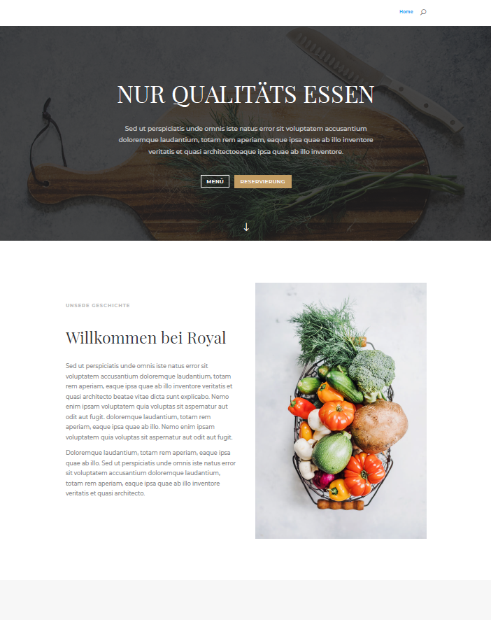 Ahvi, Resturantseite, Qualitätsessen, Slider, Webseite, Homepage, Mediengestaltung